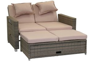 Rattan-Lounge Bahia Twin, Sofa & Bett aus Polyrattan, indoor & outdoor
